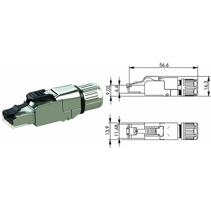 Telegärtner RJ45-Steckverbinder MFP8 IE Kat.6a (tief)T568A