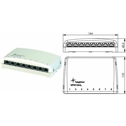 Telegärtner Mini-Verteiler MPD8-HS Kat.6A (IEC)