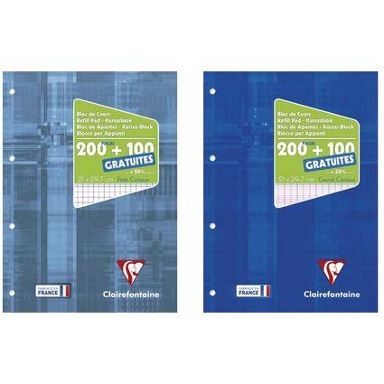 Bloc de cours A4 200 pages + 50 GRATUITES 5x5 Perfo 4 trous