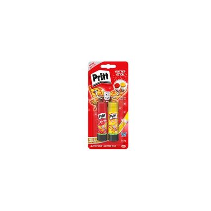 Pritt Glitzer Klebestift, 2 x 20 g, gelb und rot