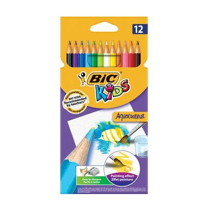 BIC KIDS Aquarell-Buntstifte Aquacouleur, 12er Kartonetui