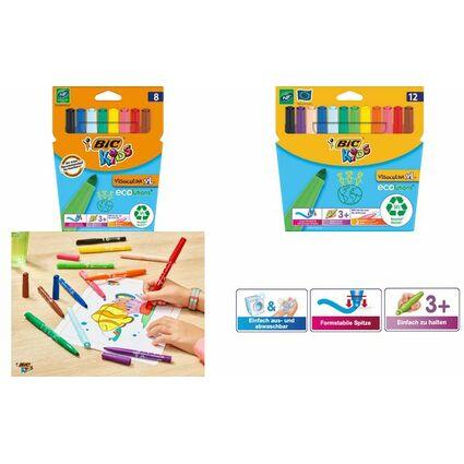 BIC KIDS Fasermaler ECOlutions Visacolor XL, 12er Kartonetui
