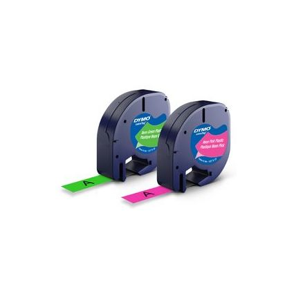 DYMO LetraTag Neon Etiketten-Band 12 mm x 4 m, Kunststoff