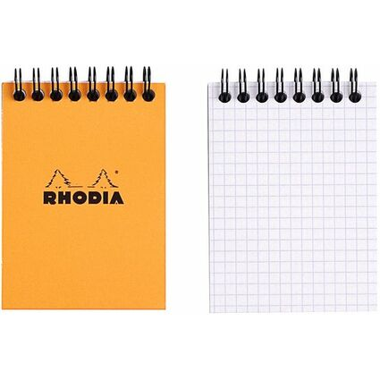 RHODIA Spiralnotizblock No. 11, DIN A7, kariert, orange