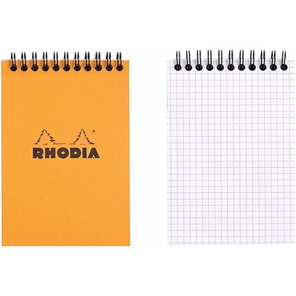RHODIA Spiralnotizblock No. 13, DIN A6, kariert, orange