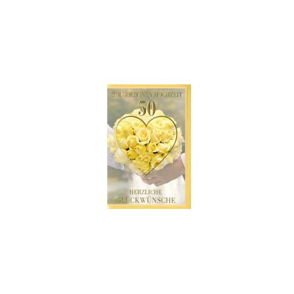 HORN Hochzeitskarte - Goldhochzeit - Rosenstrauß -