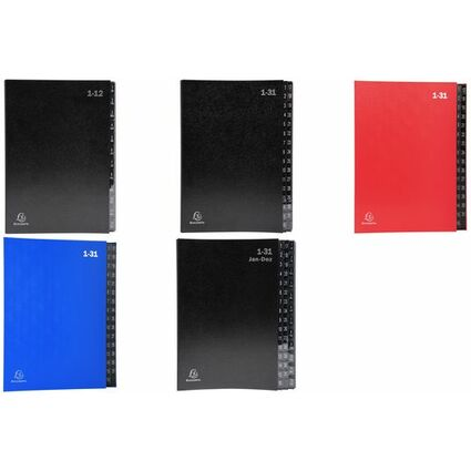 EXACOMPTA Pultordner, DIN A4, A-Z, 24 Fächer, schwarz
