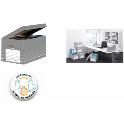 ELBA Archiv-Klappdeckelbox, DIN A4, grau / weiß