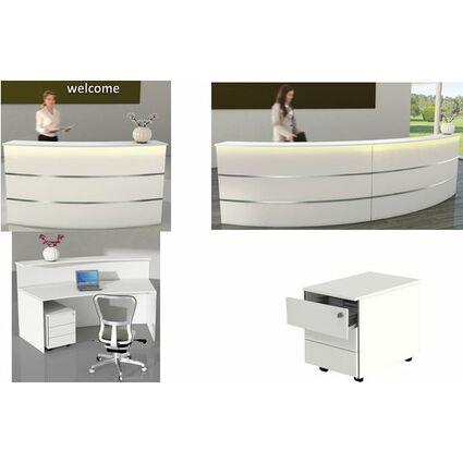 kerkmann Design-Theke Padova, 33 Grad gebogen, weiß/silber