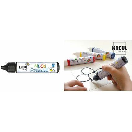 """KREUL Window Color Konturenfarbe Pen """"MUCKI"""", schwarz, 29 ml"""