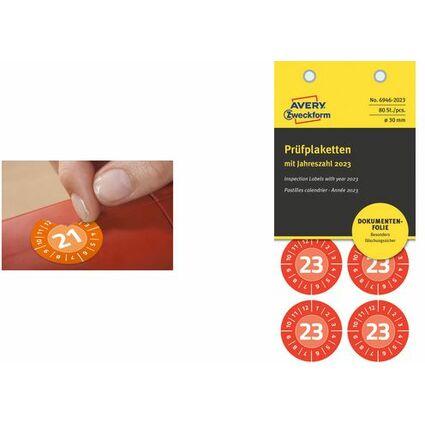 AVERY Zweckform Prüfplaketten, 2018, Durchmesser: 20 mm,gelb