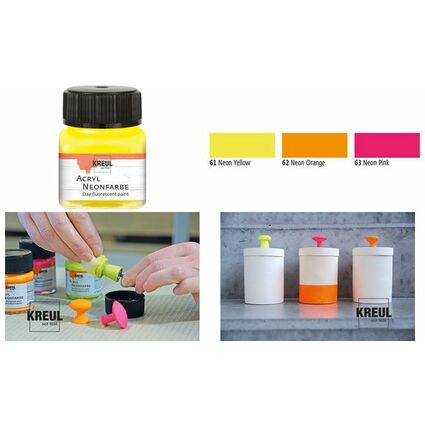 KREUL Acryl-Neonfarbe im Glas, neongelb, 20 ml
