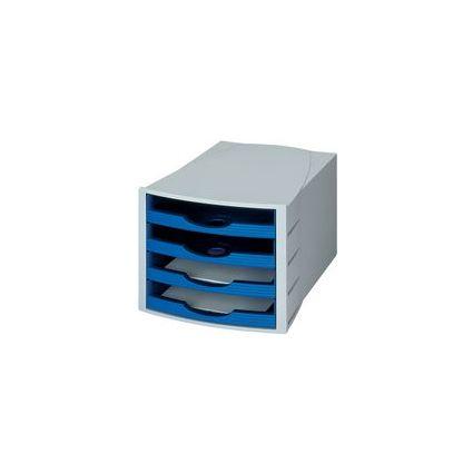 HAN Schubladenbox MONITOR, 4 offene Schübe, lichtgrau/blau