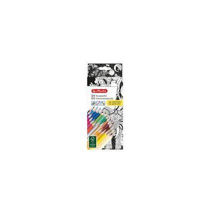 herlitz Dreikant-Buntstifte, 24er Karton-Etui