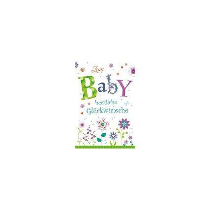 HORN Geburtskarte - Blumen-Motiv - inkl. Umschlag