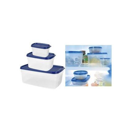 emsa Frischhaltedose SUPERLINE, 3er Set, eckig, blau