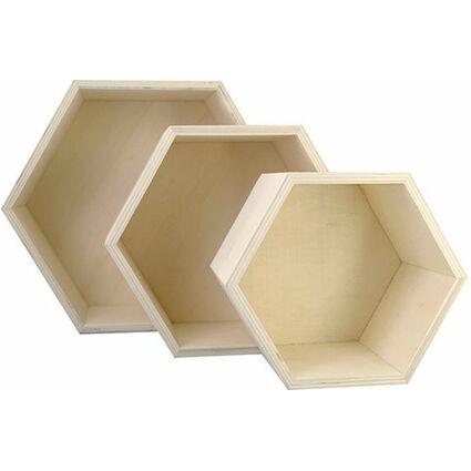 """KREUL Holzbox """"Waben"""", 3er Set"""