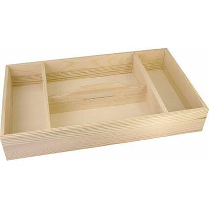 KREUL Holz-Tablett mit 4 Fächern, Tragegriff mittig