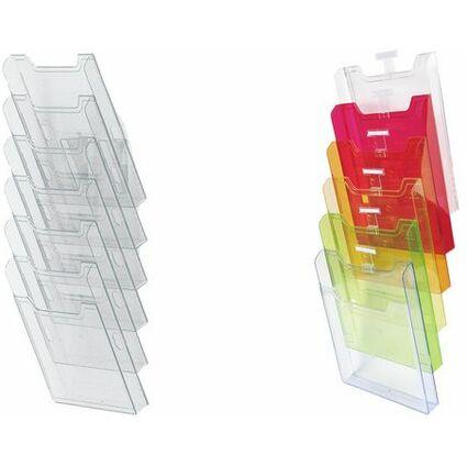 EXACOMPTA Wand-Prospekthalter, A4 hoch, 6 Fächer, glasklar