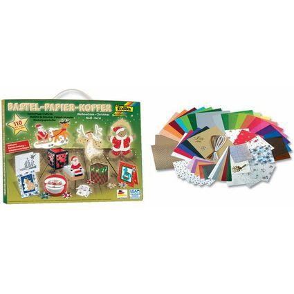 Bastelpapier Weihnachten.Folia Bastelpapier Koffer Weihnachten 110 Teilig