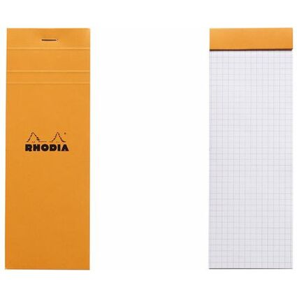 RHODIA Notizblock No. 8, 74 x 210 mm, kariert, orange