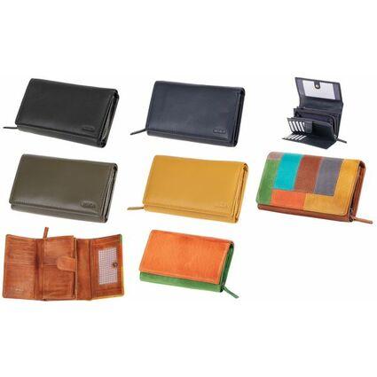 MIKA Damengeldbörse, aus Leder, Farbe: schwarz