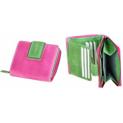 MIKA Damengeldbörse, aus Leder, Farbe: pink-grün