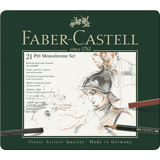 FABER-CASTELL pitt MONOCHROME set medium, 21-teiliges Etui