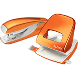 LEITZ Heftgerät- & locher-set Nexxt WOW, orange-metallic