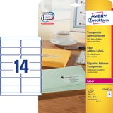 AVERY zweckform Transparente Adress-Etiketten, 99,1 x 38,1mm