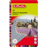 herlitz Aquarellstift, sechskantform, 12er Metall-Etui