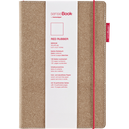 "transotype Notizbuch ""senseBook RED RUBBER"", Medium, blanko"