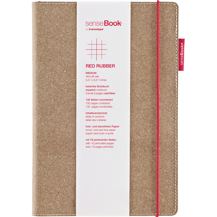 "transotype Notizbuch ""senseBook RED RUBBER"", Medium, kariert"