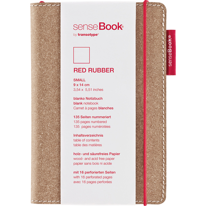 "transotype Notizbuch ""senseBook RED RUBBER"", Small, blanko"