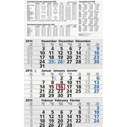 "Glocken Wandkalender ""3-Monats-Kalender UWS"", 2017, grau"