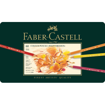 FABER-CASTELL Buntstifte POLYCHROMOS, 60er Metalletui