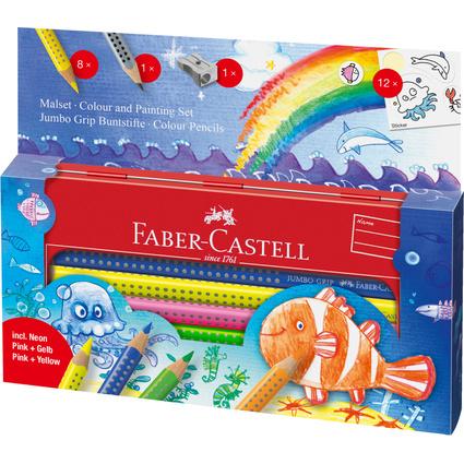 FABER-CASTELL Dreikant-Buntstifte Jumbo GRIP, Set Wasserwelt