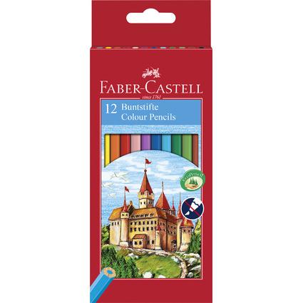 FABER-CASTELL Hexagonal-Buntstifte CASTLE, 12er Kartonetui