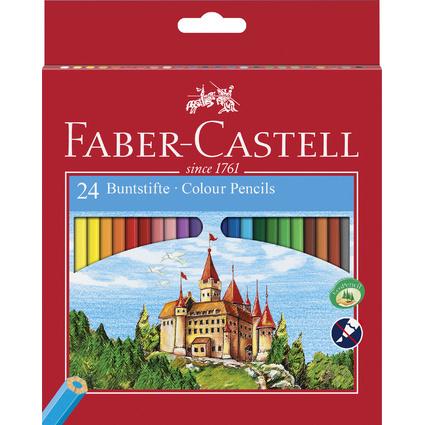 FABER-CASTELL Hexagonal-Buntstifte CASTLE, 24er Kartonetui