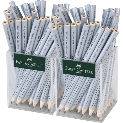 FABER-CASTELL Bleistift Jumbo GRIP silber, im Köcher