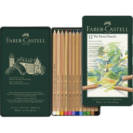 FABER-CASTELL Buntstifte PITT PASTELL, 12er Metalletui