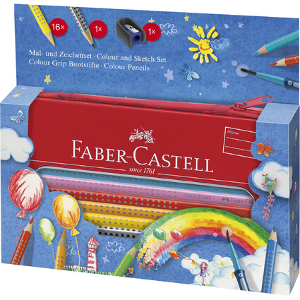 FABER-CASTELL Dreikant-Buntstifte Colour GRIP, Set Ballon