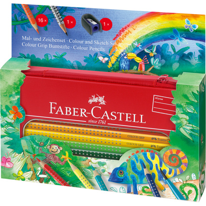 FABER-CASTELL Dreikant-Buntstifte Colour GRIP, Set Dschungel