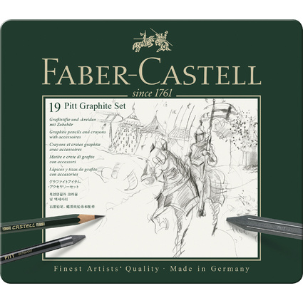 FABER-CASTELL PITT GRAPHITE Set medium, 18-teiliges Etui