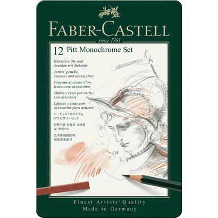 FABER-CASTELL PITT MONOCHROME Set klein, 12-teiliges Etui
