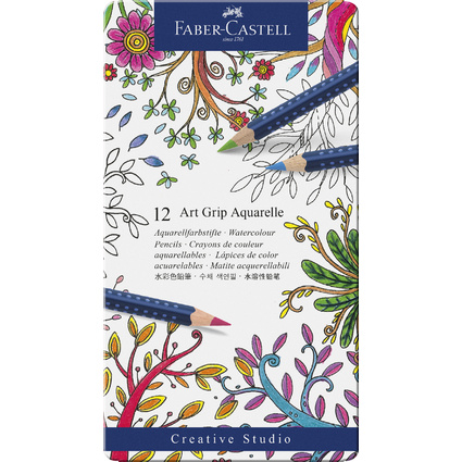 FABER-CASTELL Buntstifte ART GRIP AQUARELLE, 12er Metalletui