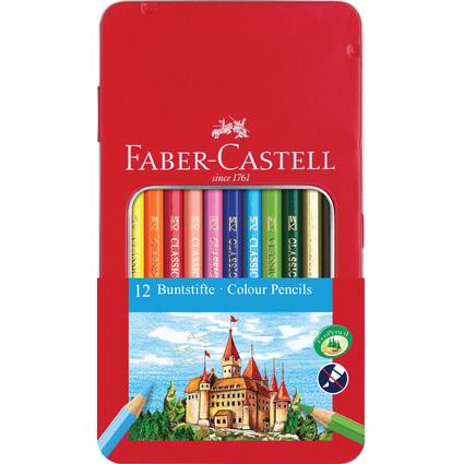 FABER-CASTELL Hexagonal-Buntstifte CASTLE, 12er Metalletui
