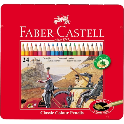 FABER-CASTELL Hexagonal-Buntstifte CASTLE, 24er Metalletui