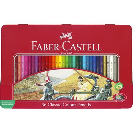 FABER-CASTELL Hexagonal-Buntstifte CASTLE, 36er Metalletui