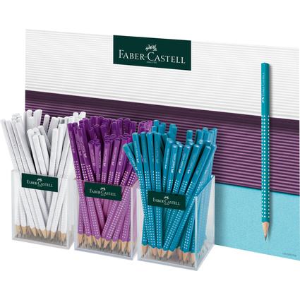 FABER-CASTELL Bleistift GRIP SPARKLE Pastell, 3er Köcher